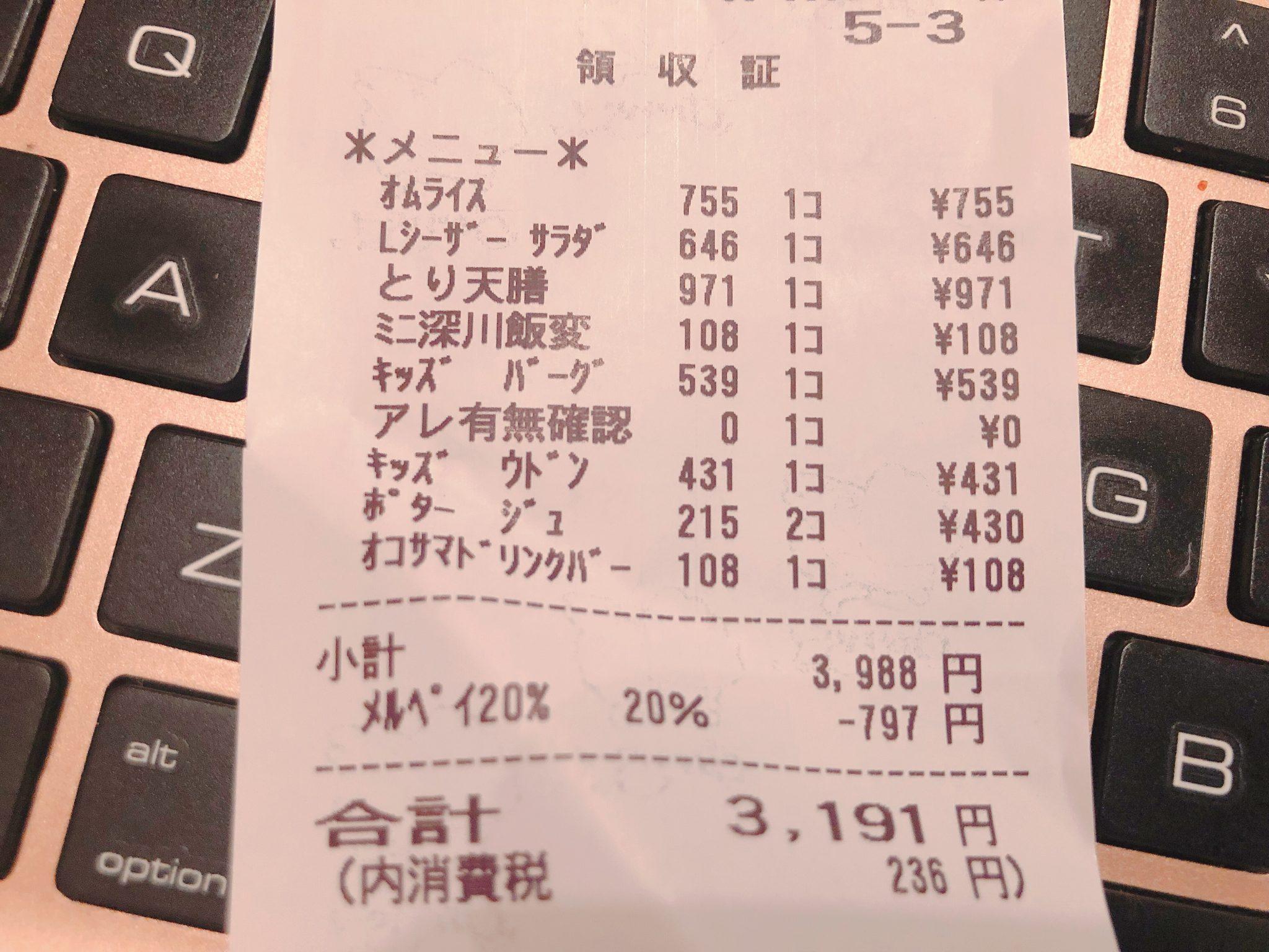 【メルペイ クーポン】ガストでの食事が20%オフになったレシート